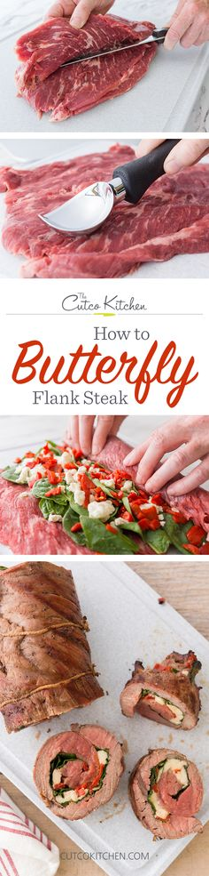 How to Butterfly Flank Steak for Stuffing I Use a Cutco Boning Knife to help you prep a recipe that's perfect for the July holiday I Cutco Kitchen (Low Carb Sauce For Pork) Grilling Recipes, Meat Recipes, Cooking Recipes, Paleo Recipes, Homemade Cookbook, Flank Steak Recipes, Grilling Sides, Low Carb Sauces, Cooking On The Grill