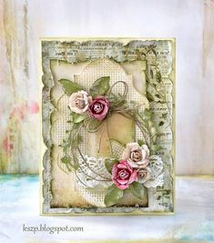 From Klaudia Szpunar (Kszp), who lives in Neuhausen am Rheinfall, Switzerland. Paper Cards, Diy Cards, Mixed Media Cards, Shabby Chic Cards, Card Making Inspiration, Pretty Cards, Card Tags, Flower Cards, Creative Cards