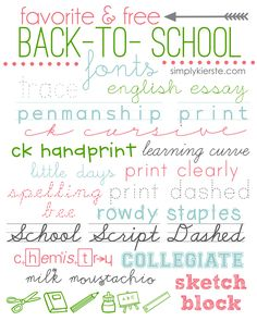 A collection of my favorite and FREE Back-to-School Fonts! Use these darling fonts in a variety of home and school projects!