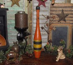 """Primitive Antique Vtg Style Wooden 17"""" Juggling Circus Club Exercise Bowling Pin #NaivePrimitive #PattisRatties"""
