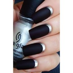 Top three Black and Silver Nail Designs with Classic Visibility : Black And Silver French Nails Ideas. black and silver french nails,black and silver nail designs,black and silver nail pictures Black Silver Nails, Silver Nail Art, Black Nail Art, Matte Black, Black Toe, Black Manicure, Black Polish, Black Dark, Mat Black Nails