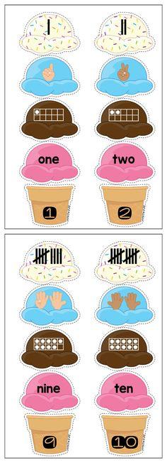 Summer Preschool Centers. Ice cream scoop number representations sorting activity.