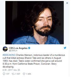 Meghalt a sorozatgyilkos Charles Manson - https://www.hirmagazin.eu/meghalt-a-sorozatgyilkos-charles-manson