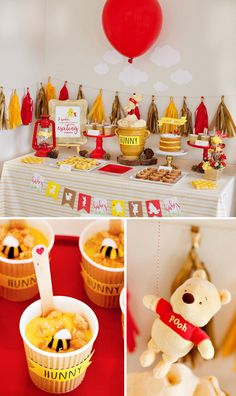 This Winnie the Pooh Baby Shower Is Cute Yet Glamourous. Who doesn't love Winnie the Pooh? Winnie The Pooh Themes, Winnie The Pooh Birthday, Baby Birthday, Birthday Parties, Themed Parties, Vintage Winnie The Pooh, Disney Birthday, Disney Winnie The Pooh, Birthday Ideas
