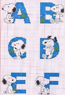 Snoopy cross stitch alphabet