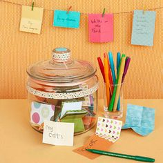 we have one of these sitting on our kitchen table for the month of thanksgiving!  numerous times a day we, with the kids, write down things we are thankful for and put them in the jar!  fun to look back on last years, and make new thanks!