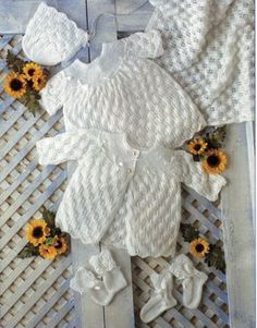 B8239 baby layette knitting pattern matinee coat dress shawl bonnet bootees mitts premature 12-18 inch 3 ply baby knitting patterns pdf download Please refer to the pictures above for information from pattern on sizes, materials used, needle size etc. Click on the white arrow half way up the picture on the right side. Where a discontinued yarn is used, I check the needle size for a modern equivalent and include in the description. This is meant as a guide only. Please check your tension. I…