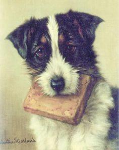 O livro favorito, Valentine Thomas Garland (Inglaterra, 1868 – 1914) óleo sobre madeira #dog #puppy #dog lovers #art #oil painting