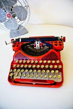 I want a TYPEWRITER!! 1924 Red Corona Typewriter