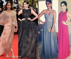 Sonam Kapoor on the Red Carpet - Elie Saab Couture - Anamika Khanna saree - pale blue gown - Indian bride - Indian fashion #thecrimsonbride