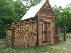 chicken coop with wood shed