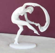 Herend-Art-Deco-Art-Nouveau-Dancing-Nude-Ribbon-Dancer-Parian-Ware-Figurine-NR