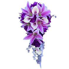 Amazon.com - 2pcs Set Casacde Bouquet & Boutonniere:purple Lavender... ($64) ❤ liked on Polyvore featuring home, home decor, floral decor, white flower bouquet, purple home decor, calla lily bouquet, lilac bouquet and artificial flower bouquets