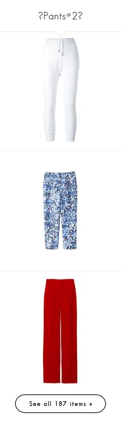 """""""♥Pants#2♥"""" by lessalice ❤ liked on Polyvore featuring activewear, activewear pants, pants, white, comic book, dsquared2, track pants, sweatpants, blue and cotton track pants"""