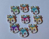 10 wooden animal buttons. Crafts-sewing-embellishments-cards-scrapbooking