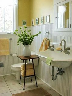 Yellow Bathroom with beadboard