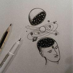 #illustration #blackwork #linework #iblackwork #universe #drawing #sketch #ink #blackart #dotwork