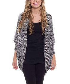 Look what I found on #zulily! Black & White Variegated Open Cardigan by Coveted Clothing #zulilyfinds