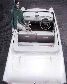 Myrtle Crawford and whippet sitting in Zephyr automobile, photo by Eugene Vernier, 1950s