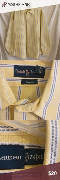 Polo Ralph Lauren Men's Dress Shirt. Like NEW!!! CONDITION :   EXCELLENT! Very little wear, 1 button has slight damage, minor stains are present, alongside red coloring on the tag. Overall very well kept.   TAG SIZE: XL- 17.5  Perfect for casual wear, will be a great addition to a spring / summer wardrobe. Would look great on jeans and or khakis!   Length:   27.5 inches armpit to armpit  &  31 inches shoulder to base   ITEM SPECIFICS  Color - Blue & Yellow  Fabric - 100% Cotton  I recommend…