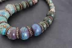 Artisan lampwork and gemstone beads necklace/ Green, blue and plum