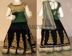 Black and Green Kids Velvet Lehenga - Indian Dresses Indian Dresses For Kids, Indian Outfits, Indian Clothes, Ethnic Fashion, Indian Fashion, Kids Fashion, Women's Fashion, Kids Ethnic Wear, Kids Lehenga