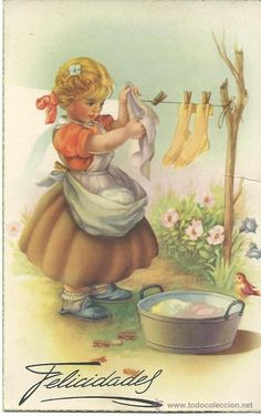 Children love to copy their parents. The best toys are miniature tools they can actually use working along side you. Like little brooms and cookie tins. Vintage Pictures, Vintage Images, Art Pictures, Vintage Artwork, Vintage Prints, Vintage Greeting Cards, Vintage Postcards, Laundry Decor, Laundry Room