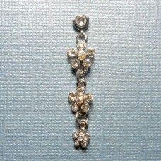 Dangly hanging flowers microdermal jewelry - dangle dermal top
