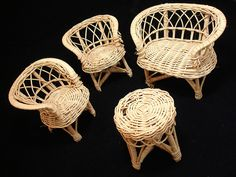 Vintage wicker Barbie furniture. Received these as a child, starting my lifelong love of wicker. Someday hope to make tiny cushions for them.
