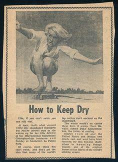 How to Keep Dry with Patti McGee. Old school | surf skate, skateboard, duke kahanamoku.