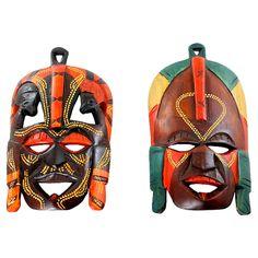 Kenyan Tribal Masks, Pair  #huntersalley