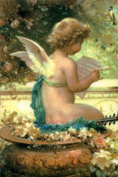 Child Angel - Cherub Hans Zatzka (1859 – 1945, Austrian)