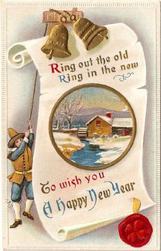 ... ring out the old, ring in the new, to wish you a happy new year ... card was postmared in Cherryvale, Kansas, and sent to Mrs. Jane Rutledge of Iola, Kansas