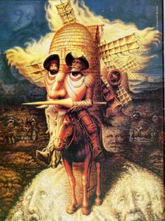 Optical Illusion Pictures and Illusion Art Hidden faces Dali Several faces are hidden in this art illusion picture of Don Quixote from Salvador Dali, the Spanish surrealist. Optical Illusion Paintings, Amazing Optical Illusions, Optical Illusions Pictures, Illusion Pictures, Art Optical, Illusion Kunst, Illusion Art, Face Illusions, Illusions Mind