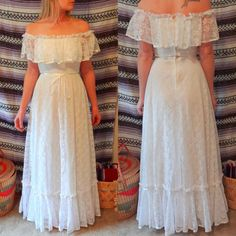 Vintage Lace Flower Child Hippie Wedding Dress. $289.00, via Etsy.