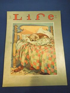 "Vintage May 30, 1930 ""And So To Bed"" Illustrated LIFE Magazine Dog Cover- Edwina 