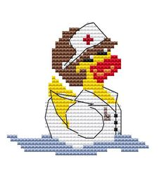 Modern Cross Stitch Kit 'Nurse Duck' CrossStitch by FredSpools