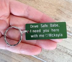 Drive Safe Keychain, Personalized Keychain, Anodized Aluminum, Couples Keychain, Engraved, Husband, Boyfriend Gift, Driver gift, new driver Transparent Bag, New Drivers, Boyfriend Gifts, Keychains, Gifts For Him, Initials, Husband, Personalized Items, Couples