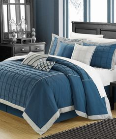 Take a look at this Teal Rhodes Comforter Set by Chic Home Design on #zulily today!