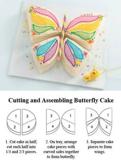 Simple Butterfly Cake by Dannii Randall - Musely Butterfly Birthday Cakes, Butterfly Cakes, Birthday Cake Girls, Butterflies, Birthday Cakes Girls Kids, Birthday Ideas, Grandma Birthday, Birthday Design, 5th Birthday