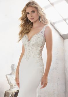 Morilee by Madeline Gardner 'Mallory' 8113   Crystal Beaded Embroidered AppliquŽés Adorn the Bodice and Open Back on This Stunning Crepe Sheath. Covered Button Detail Accents the Back.
