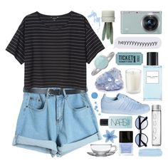 """""""☽got a few things to see to, and I don't exactly need you, made myself a promise, never ever fall in love☽"""" by eveebaptiste ❤ liked on Polyvore featuring Chicnova Fashion, Monki, Marc Jacobs, Samsung, adidas, RetroSuperFuture, Pieces, Butter London and NARS Cosmetics"""
