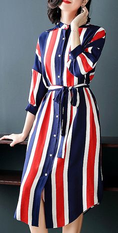 Simple Stripe Loose Lapel Coller Puff Sleeve Belted Button Skater Dress