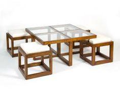 Mesa centro con 4 taburetes