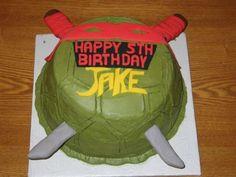 Teenage Mutant Ninja Turtle Cake- technically cake needs to be blue with Leo with those swords though. Ninja Turtle Birthday Cake, Turtle Birthday Parties, 5th Birthday Party Ideas, Birthday Fun, Birthday Stuff, Cake Birthday, Ninja Party, Ninja Turtle Party, Ninja Turtles