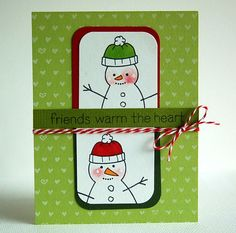 the Making Frosty Friends snowmen? This card idea is just perfect for celebrating your closest friends during the holidays. I also love the Teeny Tiny Backdrops background.