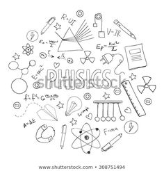 Vector Fisica stock-vector-hand-drawn-vector-set-with-school-equipment-physics-lesson-can-be-u. Decorate Notebook, Diy Notebook, Notebook Covers, Physics Lessons, School Equipment, Page Decoration, School Notebooks, School Subjects, School Notes