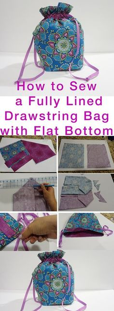 Jan 4 How to Sew Fully Lined, Flat Bottomed, Drawstring Bag FREE Pattern - Kristin Omdahl - Handarbeit Sewing Hacks, Sewing Tutorials, Sewing Tips, Sewing Ideas, Sewing Basics, Sewing Crafts, Fabric Bags, Fabric Scraps, Sewing Patterns Free