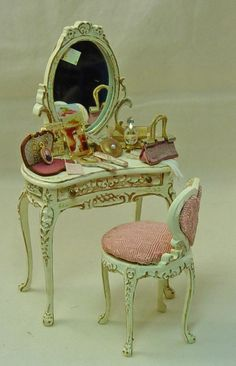 Dolls House Miniature wooden handpainted Antique Cream Bespaq Ladies Filled Dressing Table and matching chair.