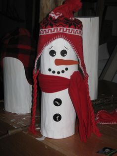 Snowman  I made from a log. Hats from $ tree.  Ideas 4 buttons/ bells, stars, hearts, tiny icicles